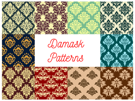 Seamless pattern set of floral damask ornament