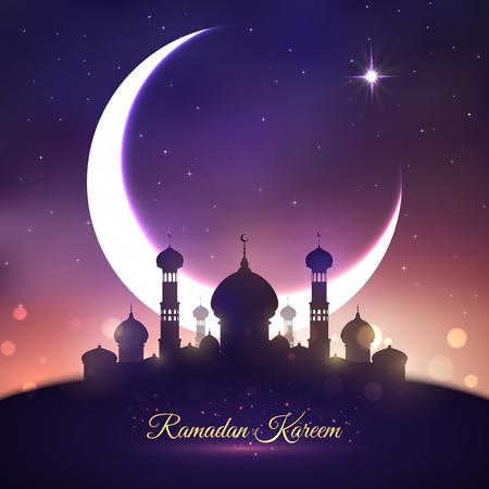 Ramadan Kareem, Eid Mubarak greeting card design Illustration