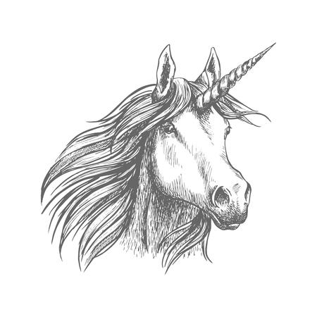 Unicorn horse animal vector sketch Çizim