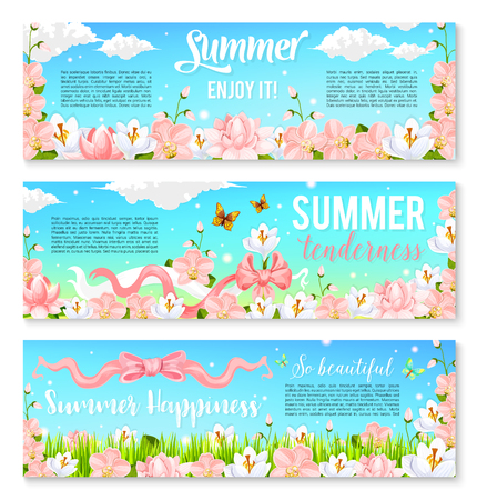 Blooming orchids or crocuses vector summer banners