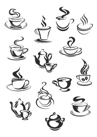 Vectorpictogrammen van koffie of theekoppen die voor koffie worden geplaatst