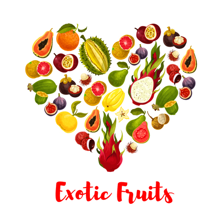 Heart with exotic tropical fruits for food design Illustration