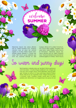 Flowers vector poster for Welcome Summer greetings Ilustracja