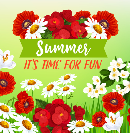Summer flowers vector greeting card