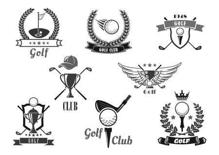 Golf sport club symbol set for sporting design Illustration