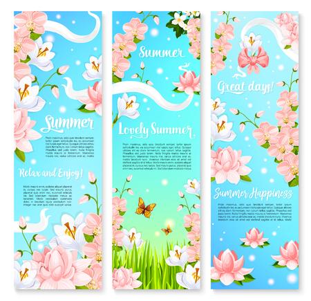 Summer flowers bouquets vector banners Stok Fotoğraf - 78076770