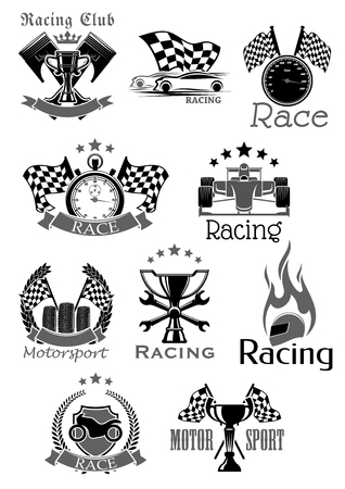 Car races or sport motor racing club vector icons