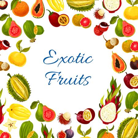 이국적인 신선한 열대 과일의 벡터 포스터