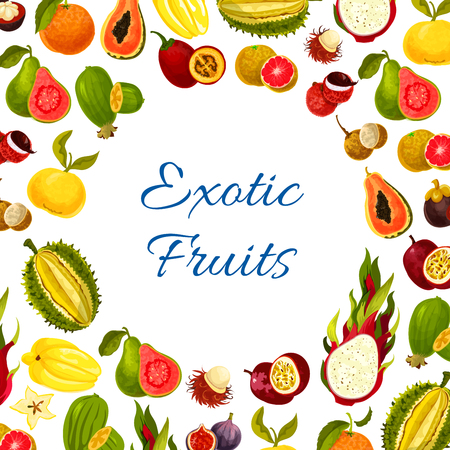 Vector poster of exotic fresh tropical fruits Stok Fotoğraf - 78076773