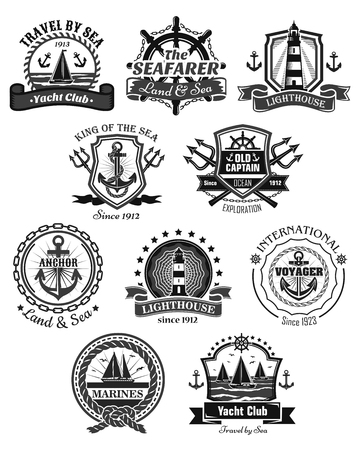 Nautical and marine symbols vector icons set Illustration