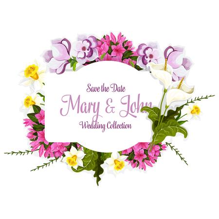 ベクトル結婚式カードのための花の花の花束