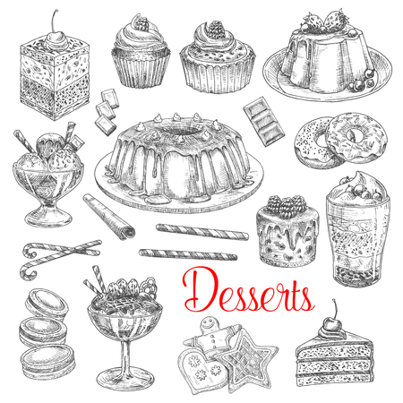 Dessert cakes and pies vector sketch icons. Waffle biscuits, sweet pastry muffins and brownie muffins with cherry and cream topping. Isolated set of tiramisu torte and charlotte pudding tart and ice cream Ilustração