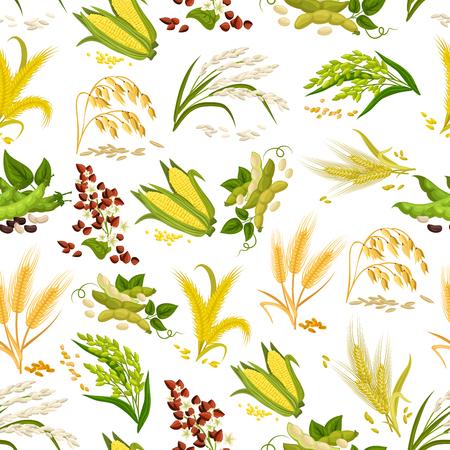 穀物と穀物のシームレスなパターン ベクトル