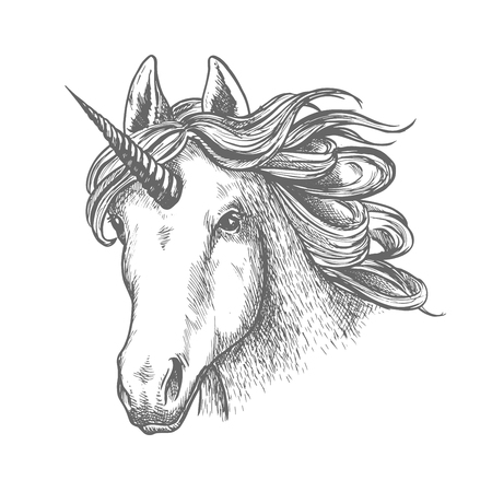 Unicorn or fairy tale animal head with horn Illustration