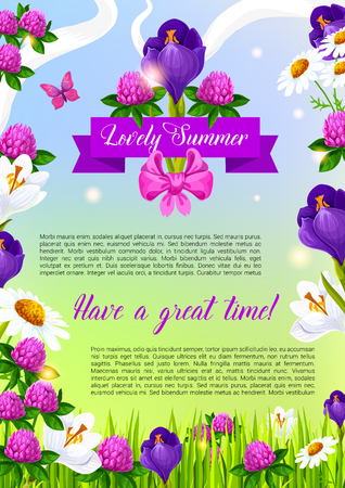 Summer time vector poster with blooming clovers, irises or viola flowers and daisy field. Vector ribbon with flourish bow of summertime blooming crocuses bouquets and lily blossoms in green grass