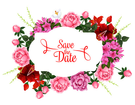 Save the Date wedding floral bouquet vector icon