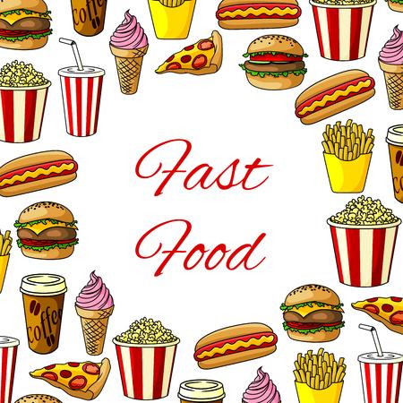 ファーストフードのハンバーガー、スナック、ドリンクのファーストフードの食事ポスター。ピザのスライスとハンバーガーやホットドッグ、アイ