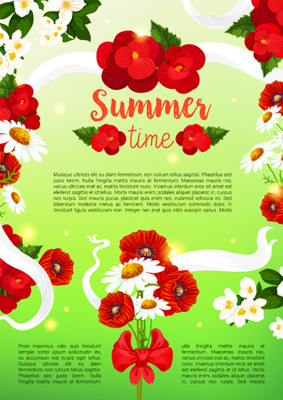Summertime holiday greeting poster of poppy and begonia flowers bouquet and white flourish ribbons. Vector bunch of summer crocus or viola and garden lily, tulip or daffodil blossoms and daisy petals Illustration