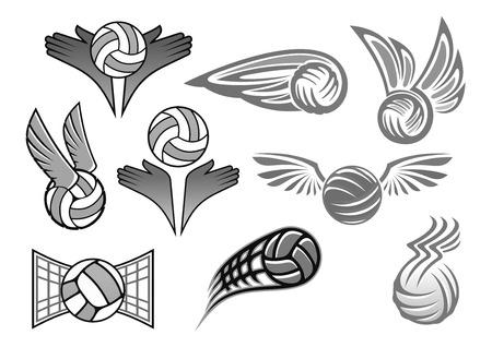 Ballen vectorpictogrammen die voor sportclubkenteken worden geplaatst. Geïsoleerde symbolen van vliegende bal op vleugels naar doelpoorten en in handen. Ontwerp voor volleybal, voetbal of handbal sportief spel of toernooi