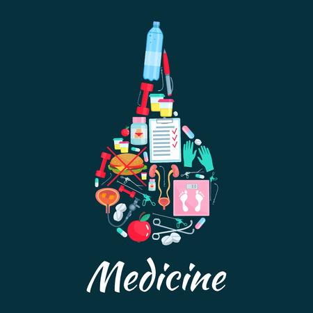 enema: Medical enema symbol with dietetics medicine icons Illustration