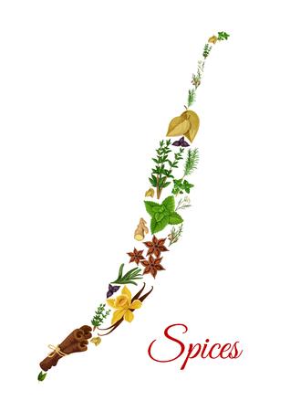 Chili pepersymbool van vectorkruiden en kruiden Stock Illustratie