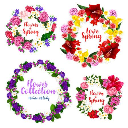 Lente bloemkrans en bloemenframe grens Stock Illustratie