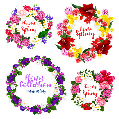 Spring flower wreath and floral frame border