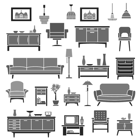 piece of furniture: Home interior furniture items vector icons set