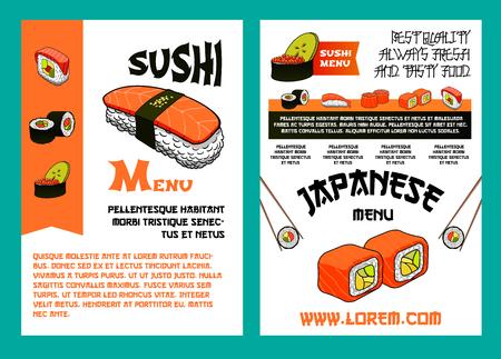 Sushi menu for japanese cuisine restaurant design