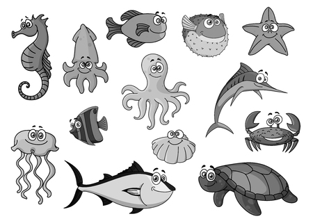 Fishes and ocean animals cartoon vector icons Stock Vector - 78078464