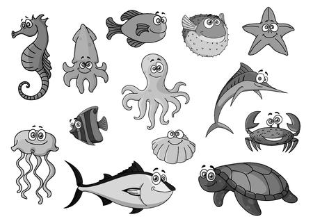 Vissen en oceaan dieren cartoon vector iconen
