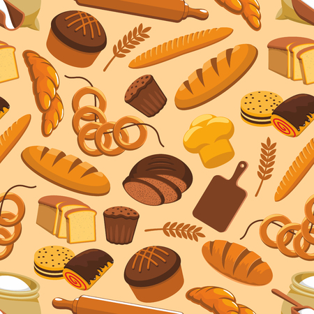 Bread bakery and pastry seamless pattern Çizim