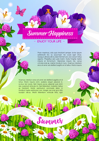 daisy pink: Summer holiday vector poster of blooming flowers Illustration