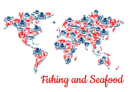Fishing and seafood fish vector world map