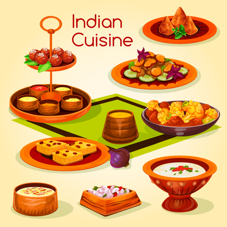 Indian cuisine lunch with dessert cartoon icon