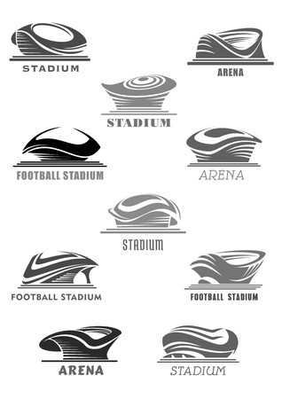 Vector football arena or sport stadium icons set Illustration