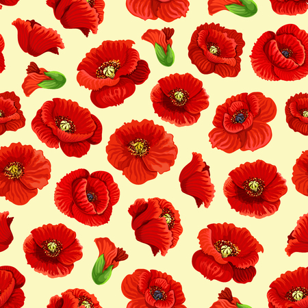 Vector poppy flowers blossoms seamless pattern Imagens - 78078477