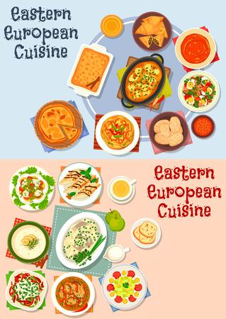 음식 디자인을위한 동유럽 요리 아이콘 세트 일러스트
