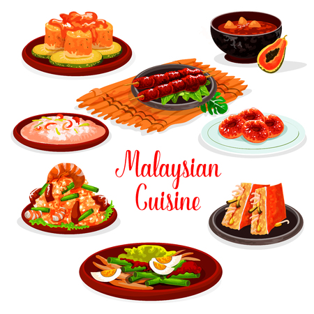 Malaysian cuisine restaurant menu with traditional asian food. Fried rice with shrimp and green bean, seafood risotto, grilled chicken, stuffed tofu, fish and vegetable salads, papaya soup, donut Illustration