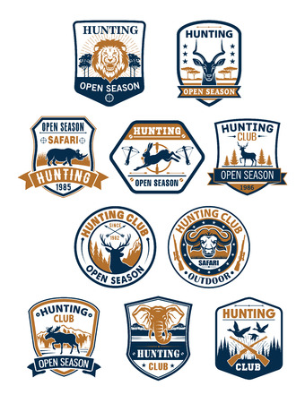 Hunting sport club and african safari badge set