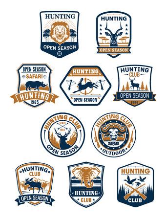 Hunting sport club and african safari badge set