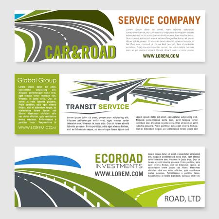 Road and transportation services banner set