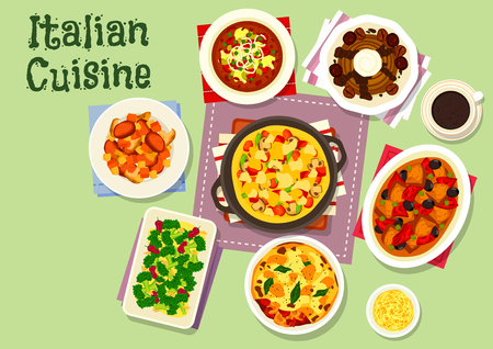 Italian cuisine healthy dishes for lunch icon with tomato soup, meat lasagna