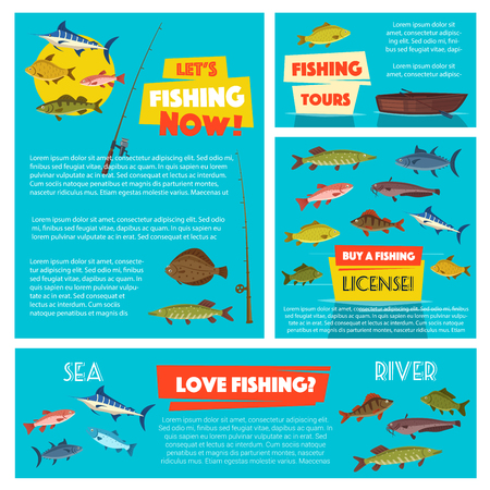 Fishing sport poster template with sea and river fish. Fishing boat, rod and tackle cartoon banner with salmon, tuna, trout, perch, flounder, mackerel, sheatfish and herring. Fishing themes design Illustration