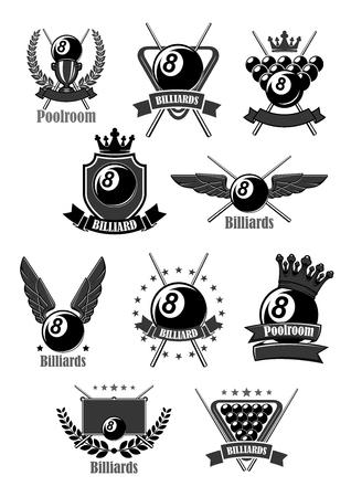 Vector icons for billiards or poolroom sport game Ilustração