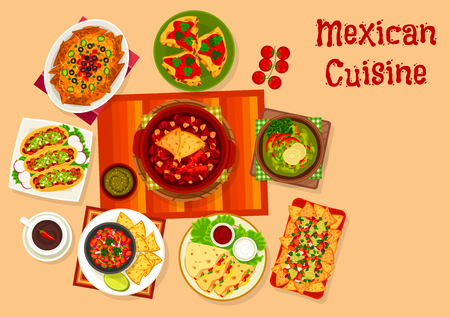 Mexican cuisine icon with taco, nacho and sauce Illustration