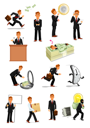 Businessman character set, business people design Illusztráció