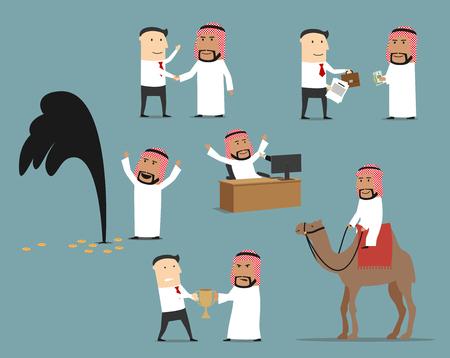 Saoedi-Arabische zakenman tekenset. Arabische zakenman die aan computer werkt, hand met partner schudden. Stock Illustratie