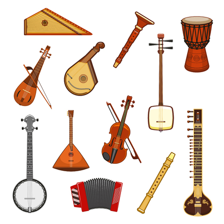 Music instrument isolated icon set of classic and ethnic musical instruments.