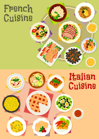 Italian and french cuisine dishes icon set design Illustration